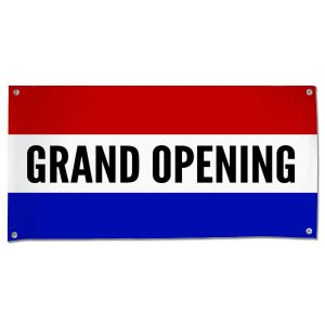 Grand Opening banner for your small business with a Classic Patriotic flair size 4x2