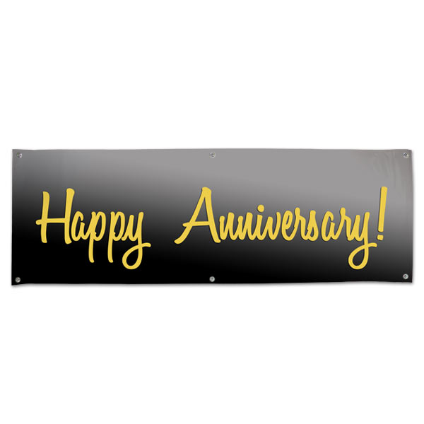 grommet vinyl happy anniversary banner in black and gold mailpix