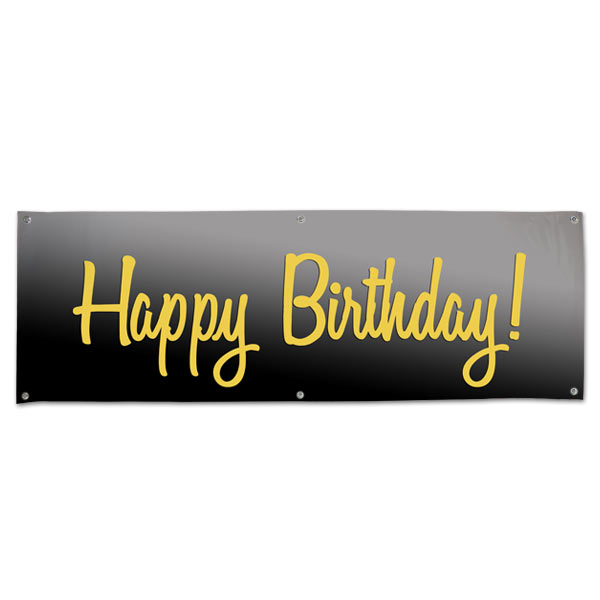elegant vinyl black and gold happy birthday banner with grommets