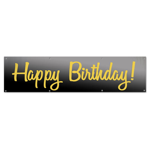 Elegant Black and Gold Happy Birthday banner for your birthday party size 8x2