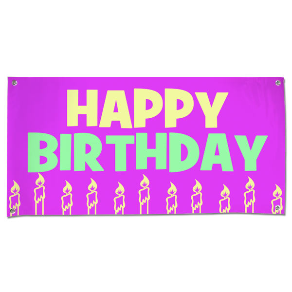 Fun Vinyl Happy Birthday Banner With Candles And A Pink Background