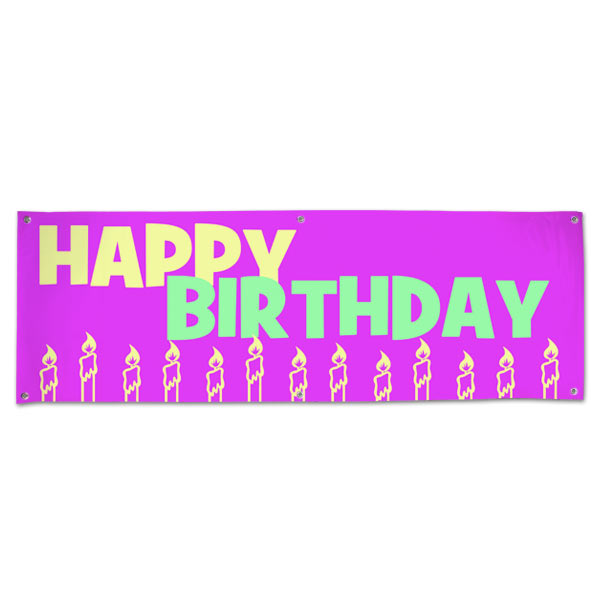 Perfect banner for little girls, decorate your party with a pink candle happy birthday banner size 6x2