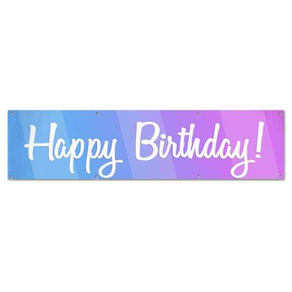 Happy Birthday Banner With Bold Blue And Pink Colors And Cursive
