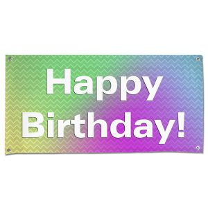 Plan for your Birthday Party with a bright and colorful fun Birthday Banner with Grommets size 4x2