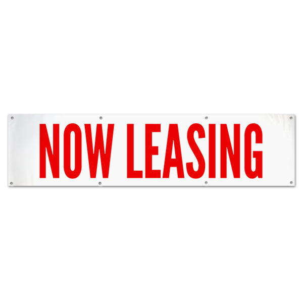 Lease your space with this Commercial Real Estate Now Leasing Banner size 8x2