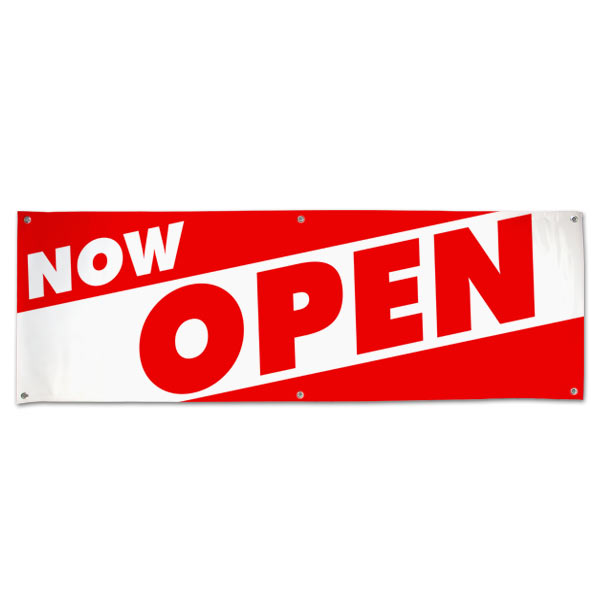 Red and White bold letters to get your message seen for your new Open Business with this Now Open Angle Banner 6x2