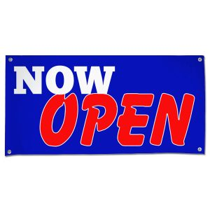 Let the word out and get customers in your door with a bright bold Now Open Sales Banner size 4x2