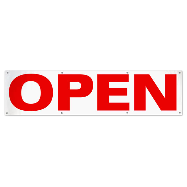 Let the public know you are open for business with this red text Open Banner size 8x2