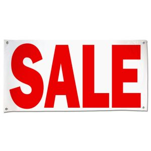 Perfect for a road side business, this indoor outdoor banner announces your Sale message large 4x2