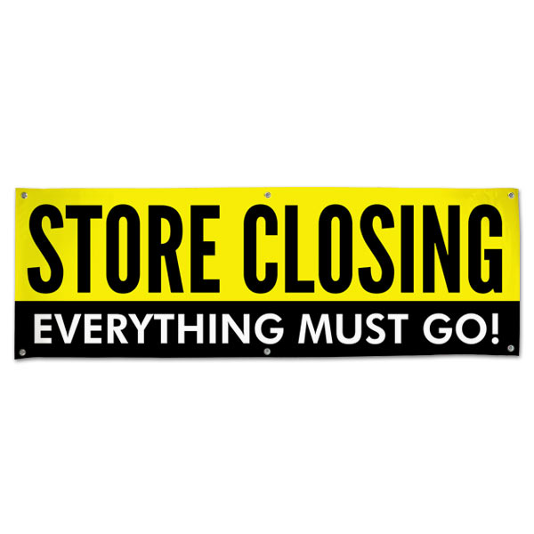 When it is time to close up shop, you need to sell everything off, announce your sale with this store closing sale banner size 6x2