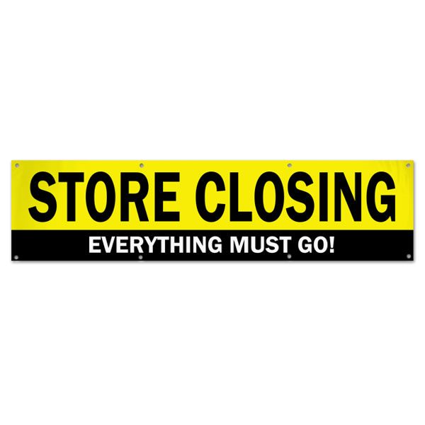When it is time to close up shop, you need to sell everything off, announce your sale with this store closing sale banner size 8x2