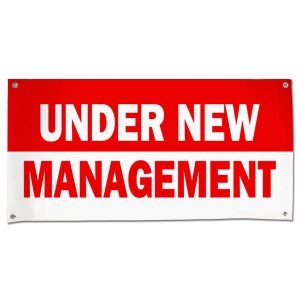 Banner for small business, let your customers know about the change with an Under New management banner size 4x2