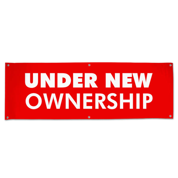 Let your customers know that things have changed for the better with an Under new Ownership banner size 6x2