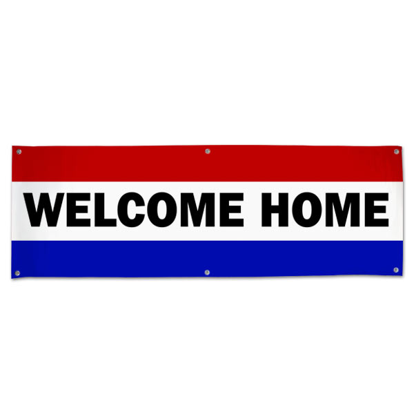 Welcome someone loved home with a patriotic red white and blue Welcome Home Banner size 6x2