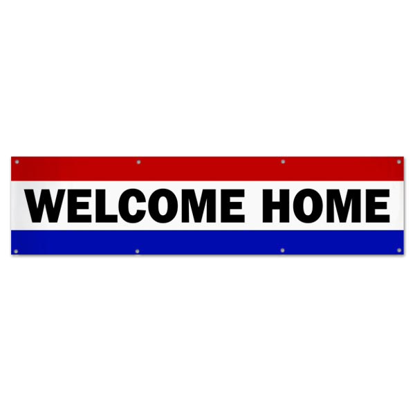 Welcome someone loved home with a patriotic red white and blue Welcome Home Banner size 8x2