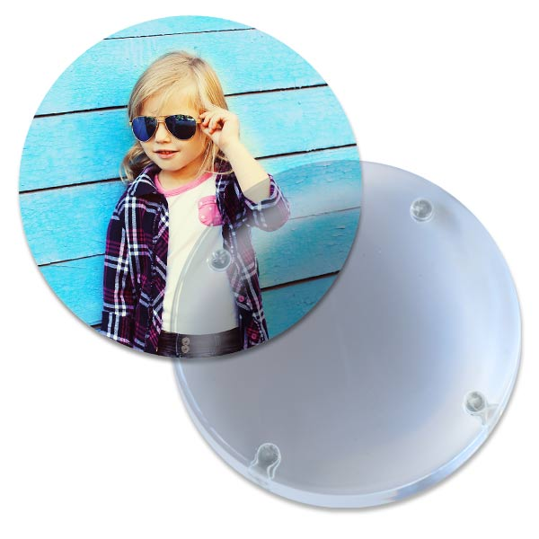 Premium acrylic paperweight with removable back also works as a reading magnifying glass