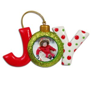 Joy photo ornament with baby in the O of Joy, colorful with glitter