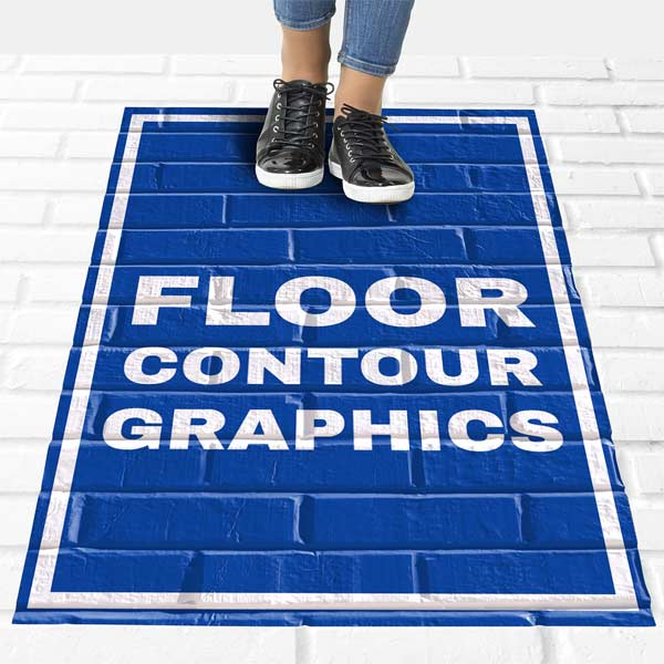 Floor decal molds to fit surface and lasts for up to 1 year