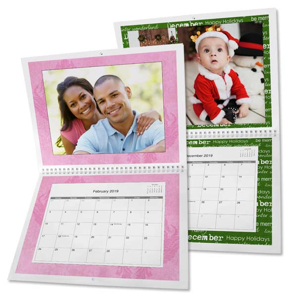 Create an 8x11 calendar and add custom dates and photos