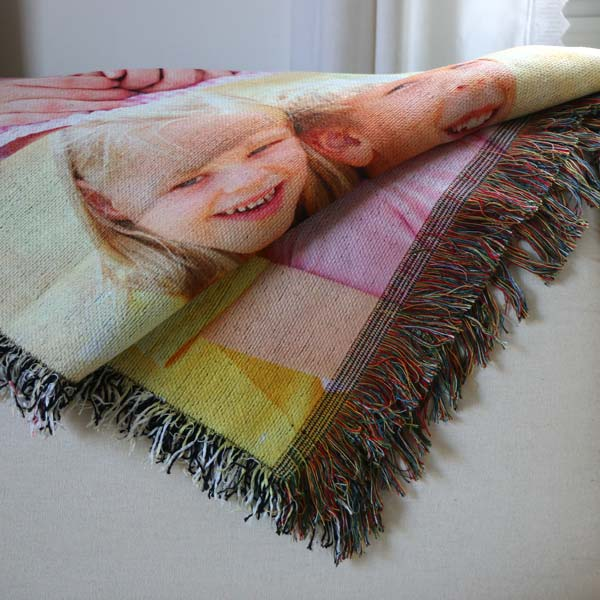 Create a photo collage blanket to display in your home, Woven tapestry blankets are perfect!