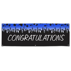 Congratulate your graduate with a party and custom vinyl banner