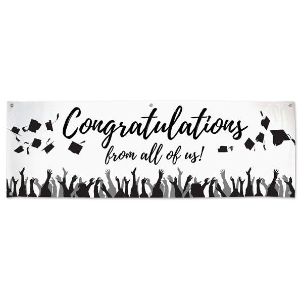 Black and white congratulations banner for graduation