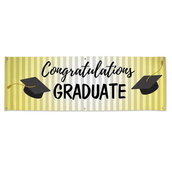 Classic black and gold congratulations graduate vinyl banner