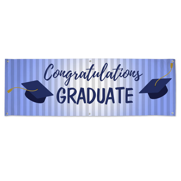 Congratulate your Graduate with a vinyl banner for the party, blue themed