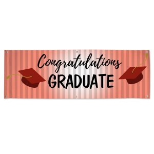 Order a custom graduation banner congratulating your graduate, red themed