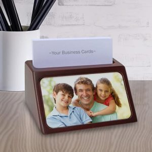 Add a photo, text or both and create a personalized business card holder for your desk