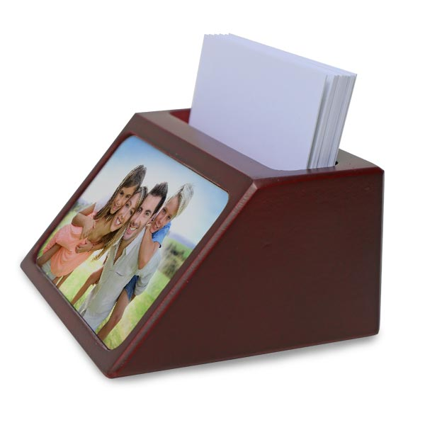 Display your business cards on your desk with a photo personalized card holder