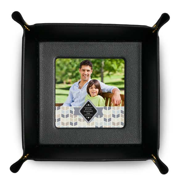 Add your own photo or art work and create a custom leather tray