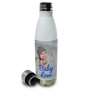 Swell shaped aluminum water bottle with lid and baby photo