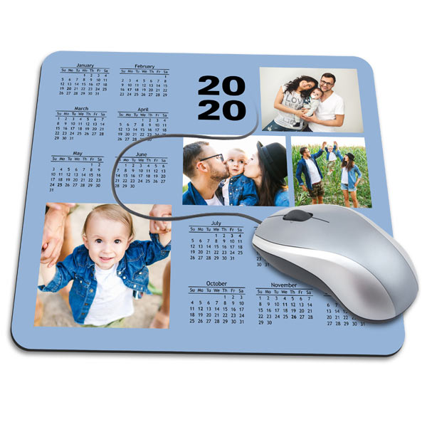 Create a custom mouse pad for your office that features pictures and a calendar of the current year