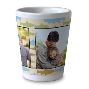 Order a white ceramic shot glass personalized with your own photos