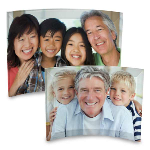 Add your photo to a self standing curved glass print with beveled edges