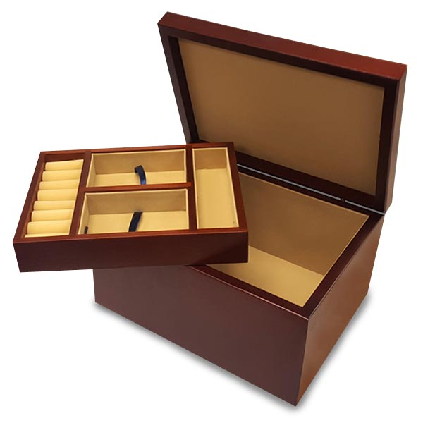 Create a custom jewelry box with removable storage tray and personalized top