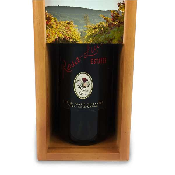 Give a double gift with a custom wine storage box and a bottle of wine enclosed