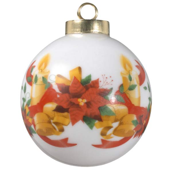 Bells and candles and ribbons for Christmas on this classic ball style photo ornament