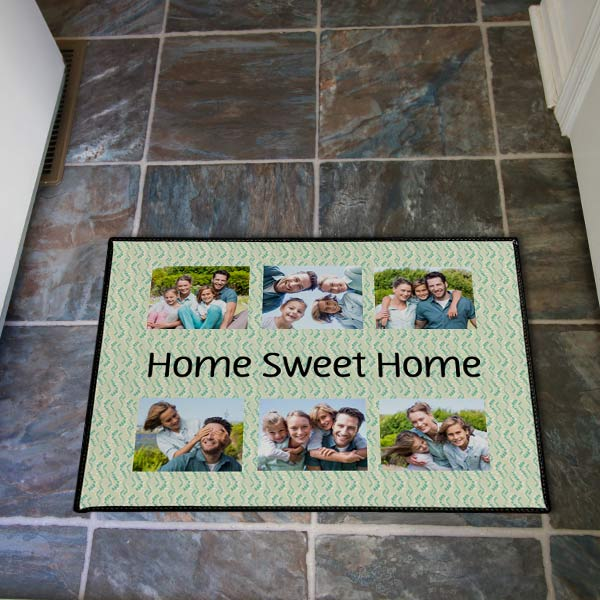 Nothing is more welcoming than a door mat with all your familys smiling faces welcoming you home