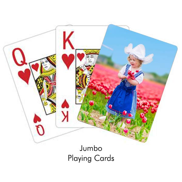 Create your own jumbo print playing cards for those whom are visual challenged