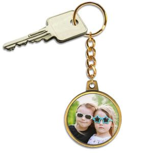 Antique gold key ring with chain is perfect for adding your own photo and personalizing for use