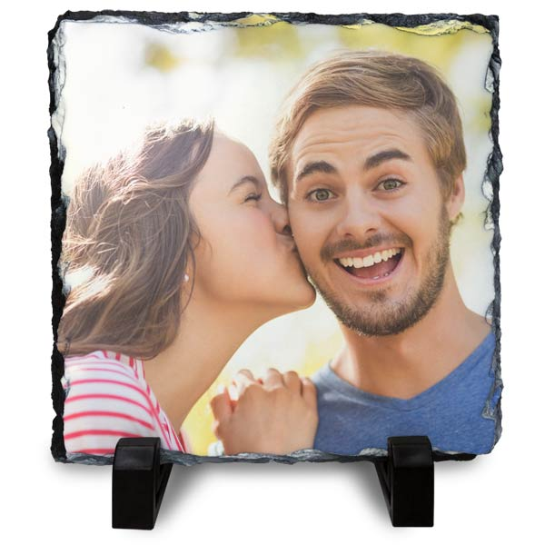 Photo slates are a fun and rustic way to display your pictures printed on stone