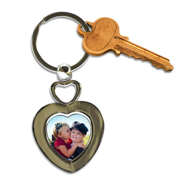 Add a photo to a double heart personalized key chain to carry with you