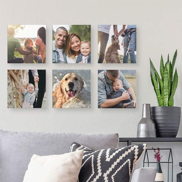 Create an assortment of floating block canvas prints and tell your story in your space