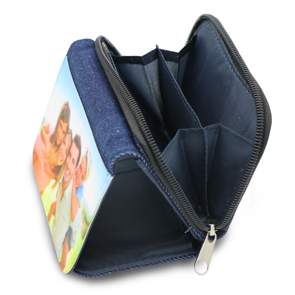 Photo wallet offers coin storage with zipper closure