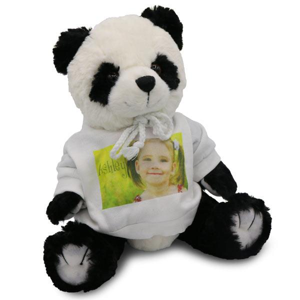 Cute stuffed panda bear with photo personalized sweater for kids