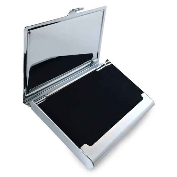 business card holder has black felt interior to protect your business cards