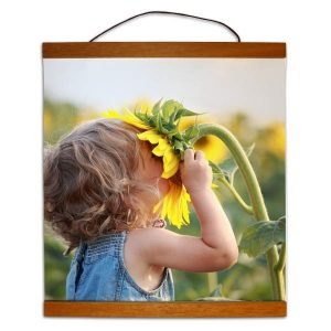 Beautiful hanging canvas for your walls with a teak finish