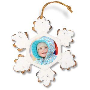 Rustic old fashioned snowflake ornament made of wood featuring your own photo